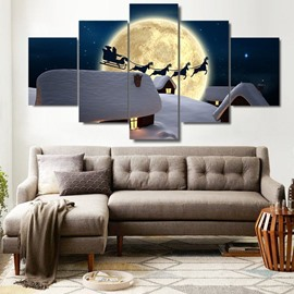 Snowy Cabins and Christmas Deer Moonsky Hanging 5-Piece Canvas Eco-friendly Waterproof Non-framed Prints