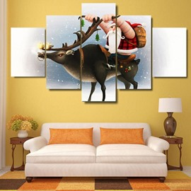 Christmas Father on Moose Hanging 5-Piece Canvas Eco-friendly and Waterproof Non-framed Prints