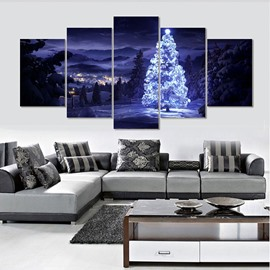 Christmas Tree in Blue Sky Hanging 5-Piece Canvas Eco-friendly and Waterproof Non-framed Prints