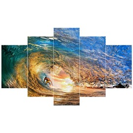 Surfing Pattern 5-Piece Canvas Hung Non-framed Wall Prints