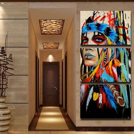 3 Panels Indian Girl Hanging Canvas Waterproof Eco-friendly Non-Framed Prints