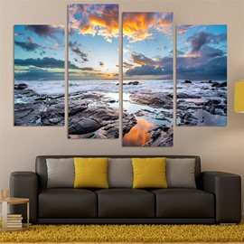 Sea View Pattern 4 Pieces Hanging Canvas Waterproof Eco-friendly Framed Wall Prints