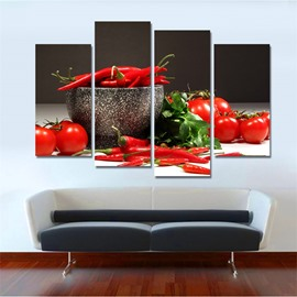 Pepper Pattern 4 Pieces Hanging Canvas Waterproof Eco-friendly Framed Wall Prints
