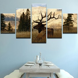 Elk Pattern 5 Pieces Hanging Canvas Waterproof Eco-friendly Framed Wall Prints