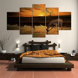 5 Pieces Hanging Canvas Giraffe Pattern Waterproof Eco-friendly Framed Wall Prints