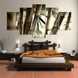 Bamboo Pattern 5 Pieces Hanging Canvas Waterproof Eco-friendly Framed Wall Prints