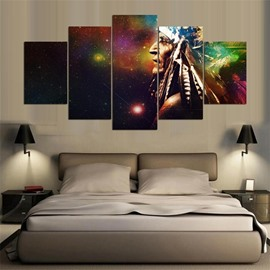 5 Pieces Hanging Canvas Indian Man Pattern Waterproof Eco-friendly Framed Wall Prints With Wooden Frame
