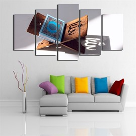 5 Pieces Hanging Canvas Classic Book Pattern Waterproof Eco-friendly Framed Wall Prints