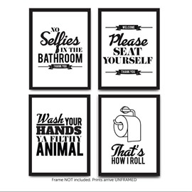 Funny Bathroom Quotes and Sayings Art Prints