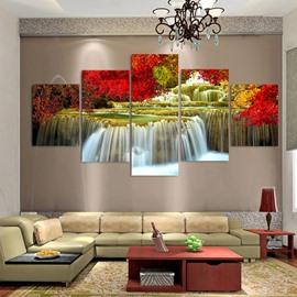 Red Leaves and Running Water Modern Spray Painting Landscape Calligraphy Painting