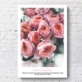 Nordic Style Pink Roses Spray Painting Wall Decorations Non-Framed Prints