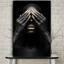Non-Framed Prints Woman Blocked Eyes Spray Painting Black Modern Realism Print Wall Decorations