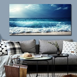Blue Sea and Beach Wall Prints Spray Painting Natural Scenery Modern Print Wall Decorations Non-Framed Prints