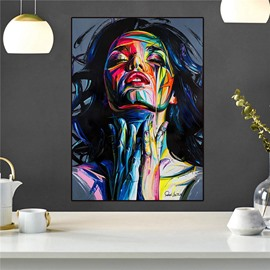 Non-Framed Prints Camouflage Girl Spray Painting Black Modern Realism Print Wall Decorations