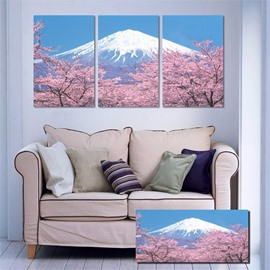 11.8*17.7in*3 Pieces Sakura And Snow Mountain Hanging Canvas Waterproof and Eco-friendly Wall Prints