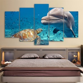 Dolphin Pattern 5 Pieces Hanging Canvas Waterproof Eco-friendly Framed Wall Prints