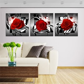 Rose Pattern 3 Pieces Hanging Canvas Waterproof Eco-friendly Framed Wall Prints