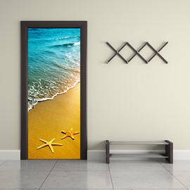 30×79in Starfishes on Beach PVC Environmental and Waterproof 3D Door Mural