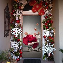 30×79in 3D Christmas Father Presents in Bike PVC Environmental Waterproof 3D Door Mural