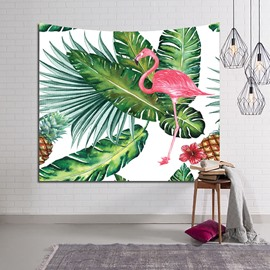 Decorative Tropical Plants and Flamingo Hanging Wall Tapestry
