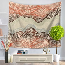 Abstract Orange Ripple Mountain Shape Decorative Hanging Wall Tapestry