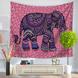 Mandala Psychedelic Elephant  with Pink Bottom Color Decorative Hanging Wall Tapestry