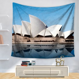 Artwork Watercolor Sydney Opera House under Blue Sky Pattern Decorative Hanging Wall Tapestry