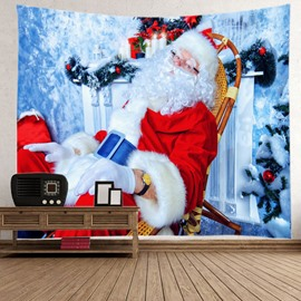 Merry Christmas Santa Claus Having Rest Pattern Decorative Hanging Wall Tapestry
