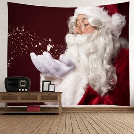 Santa Claus Playing with Snow Pattern Christmas Decorative Hanging Wall Tapestry