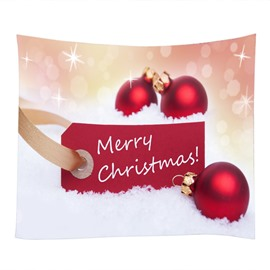 Merry Christmas Red Balls Pattern Decorative Hanging Wall Tapestry