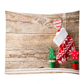 Christmas Stocking and Trees Pattern Decorative Hanging Wall Tapestry