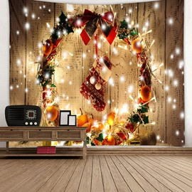 Christmas Stocking and Bling Christmas Ornaments Printing Decorative Hanging Wall Tapestry