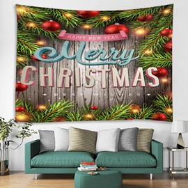 Christmas Tree and Ornaments Printing Decorative Hanging Wall Tapestry