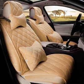 Pure Color Classic Plaid Winter Warm Soft Suede Car Seat Cover