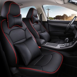 PU Leather Stripe Patterns Busines Style Custom Fit Car Seat Covers
