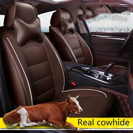 Plain Pattern Simple Style Real Leather Custom Car Seat Cover