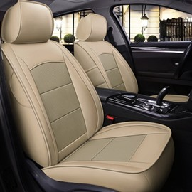 Simple Style Real Leather Color Block Design Wearproof&Breathable Custom Fit Seat Cover