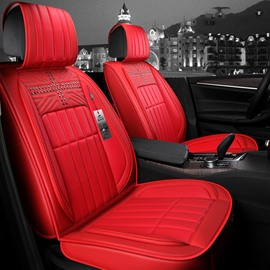 Pure Color Superior Leather 3D Shapes Design Truck Universal Fit Car Seat Covers