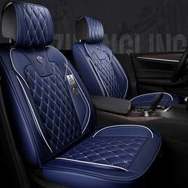 High-class Leather Pure Color With White Cross Lines Design Universal Fit Car Seat Covers