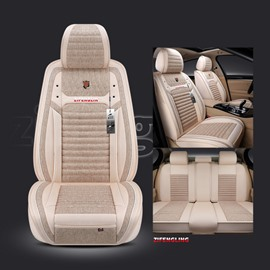 Simple Style Color Block Linen Universal Car Seat Cover