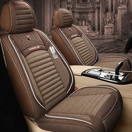 Simple Style Geometric Stripe Design Linen Material Environmental Friendly Breathable And Easy To Clean 5 Seats Truck Universal Fit Seat Covers