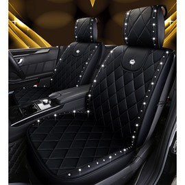 Wear-Resistant Leather And Inlaid Diamonds Swan And Crown Medal Compact And Elegant Unfading Durable 5 Seats Truck Seat Covers