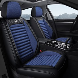Combination Of Natural Flax Materials And Durable Leather Materials Unfading Healthy And Environmentally Friendly 5 Seats Truck Seat Covers