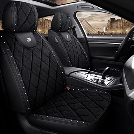 Swan And Crown Medal Suede And Wear Resistant Leather Material Unfading Anti-Scraping 5 Seats Truck Seat Covers