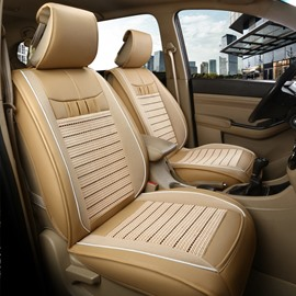 Ice Silk and Leather Simple Style Ventilation Front Single-seat Universal Car Seat Cover