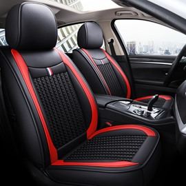 Unfading Hard-Wearing Leather And Flax Mixture Material Color Line Trimming 1 Front Seat Cover Suitable For Most Cars