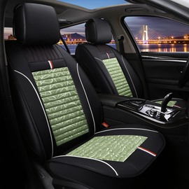 Full Coverage Wear-Resistant And Dirty-Resistant Classic Style Artificial Leather And Flax Mixture Material 1 Front Car Seat Cover Suitable For Most Models