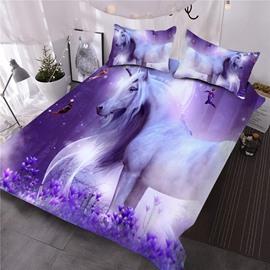 Girl Unicorn 3D Printed All Season Purple 3-Piece Comforter Sets