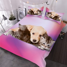 Puppy and Cat Good Friends 3D Printed 3-Piece Comforter Sets