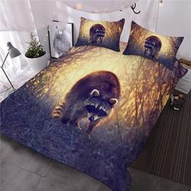 Adorable Raccoon Jungle Printed 3D Animal 3-Piece Comforter Sets